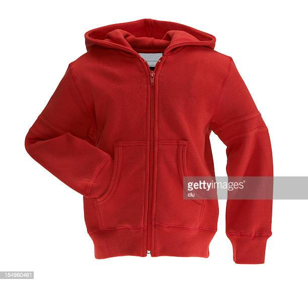 red sweat-shirt on white background - long sleeved stock photos and pictures