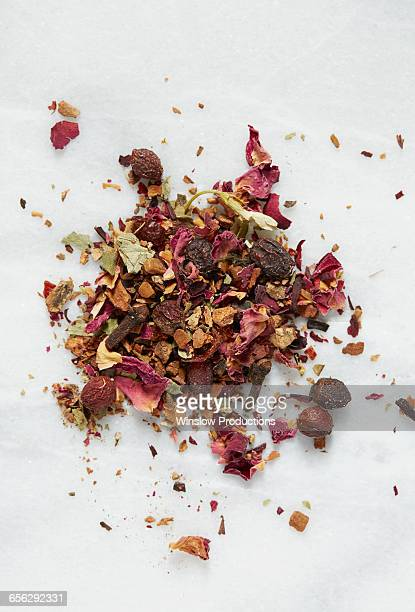 Red tea on white paper