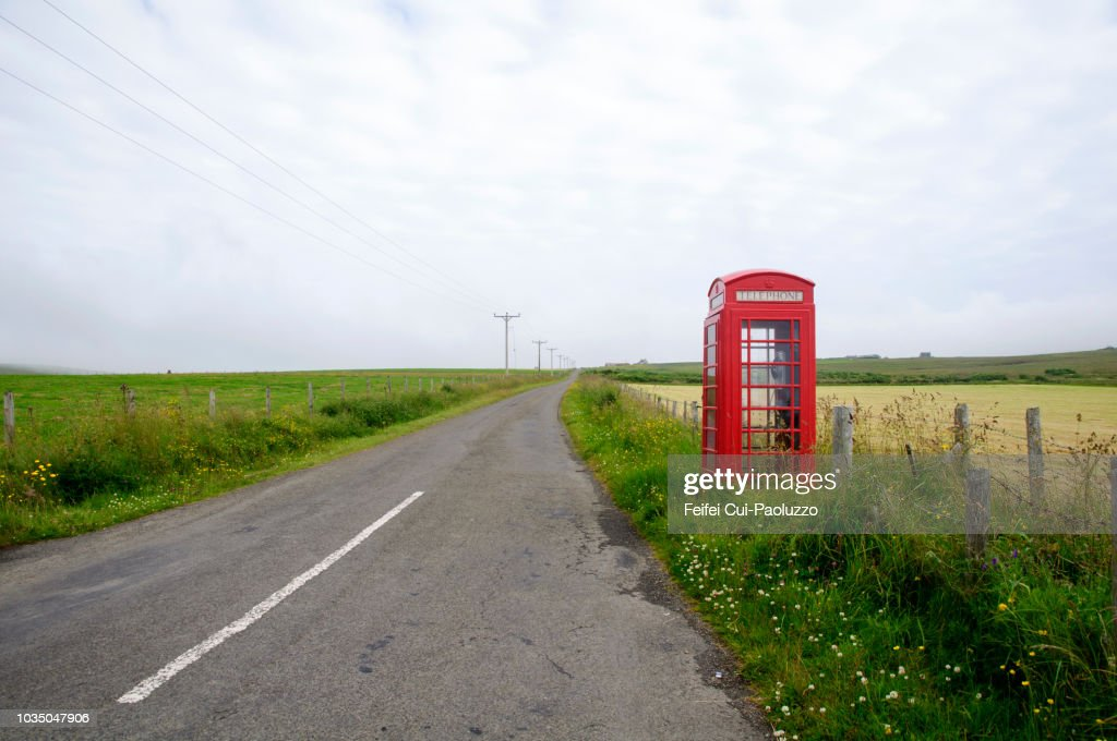 red telephone box at houton orkney scotland stock photo getty images