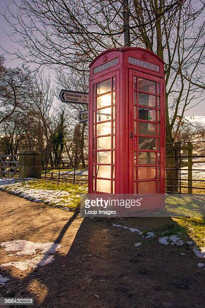 A red telephone box in the Derbyshire Peak District