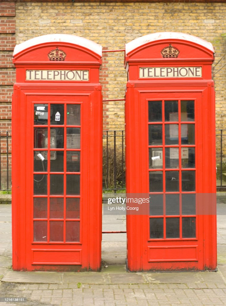 Red telephone boxes London : Stock Photo