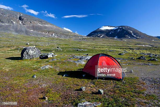 Red tent in the Fjaell Mountains, Kungsleden, The King's Trail, Lapland, Sweden, Europe