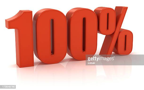 Red three dimensional 100% sign on white background