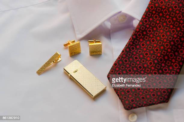 red tie on white shirt and men's accessories, high angle view - 袖口 ストックフォトと画像