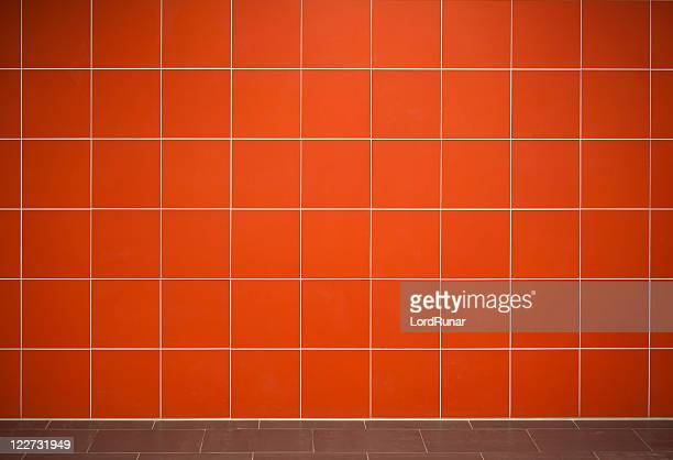 Red tile wall background