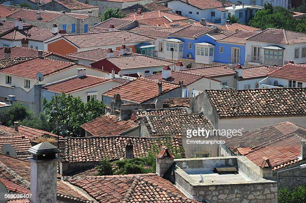 red tiled rooftops of alacati - emreturanphoto stockfoto's en -beelden