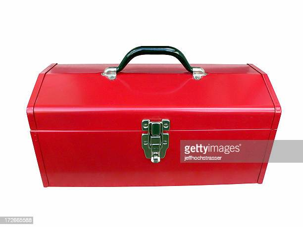 red toolbox (clipped for easy use) - toolbox stock photos and pictures