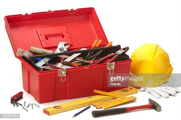 red toolbox with all necessary tools - toolbox stock photos and pictures