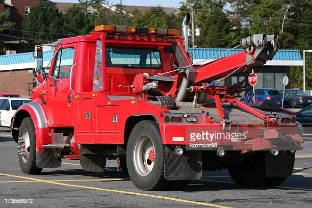 red tow truck - tow truck stock pictures, royalty-free photos & images