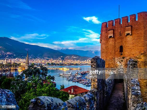 red tower (kizil kule)  alanya turkey - antalya province stock pictures, royalty-free photos & images