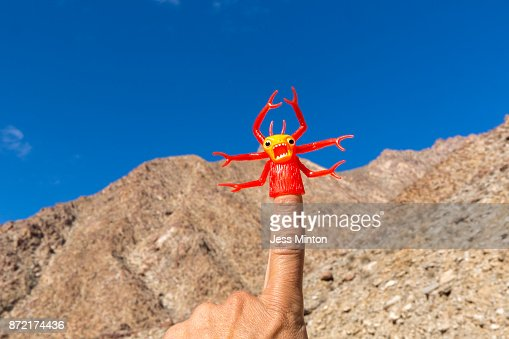 Red toy insect/ monster finger puppet