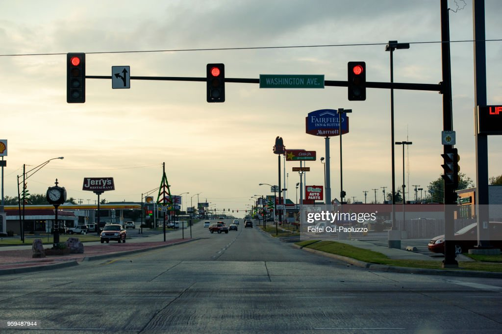 Red Traffic Light And City Street At Weatherford Oklahoma