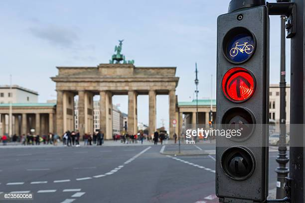 Red traffic light at Brandenburger Tor (Brandenburg Gate)