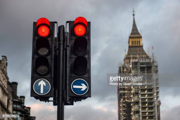 Red traffic lights at Big Ben during restoration