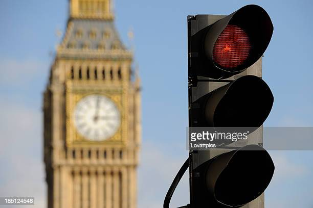 Red Verkehrs Tageslicht. London, England.