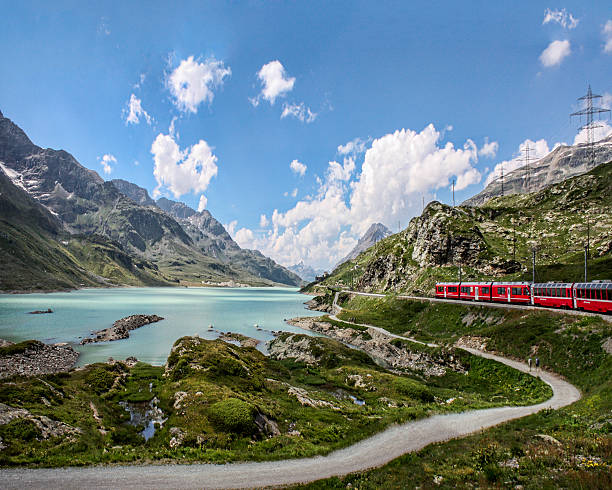 Red Train Bernina Pass in the Alps