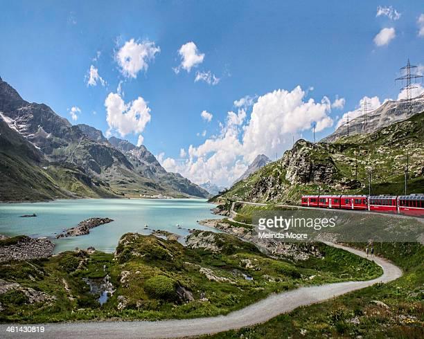 Red Train Bernina Pass in the Alps