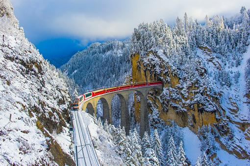 Red train in winter wonderland - gettyimageskorea