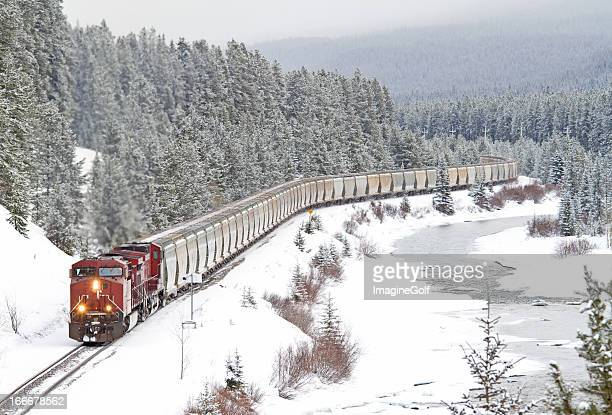 red train speeding through rocky mountains - canadian rockies stock pictures, royalty-free photos & images