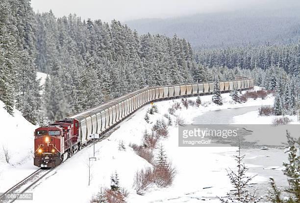 red train speeding through rocky mountains - cargo train stock photos and pictures