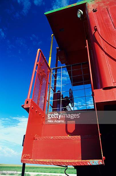 Red train steps and railing, Texas, Texas, USA