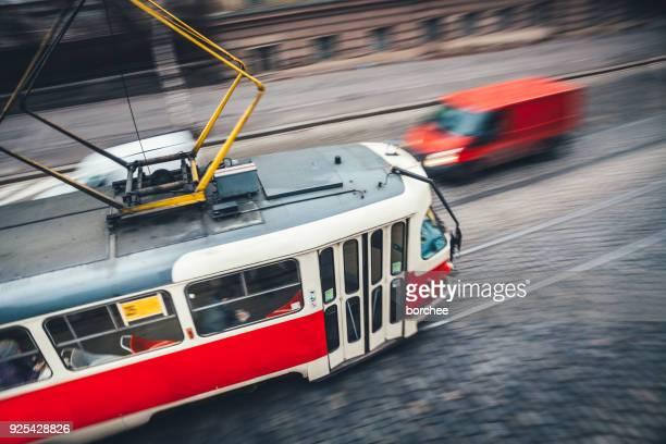 Red Straßenbahn in Prag