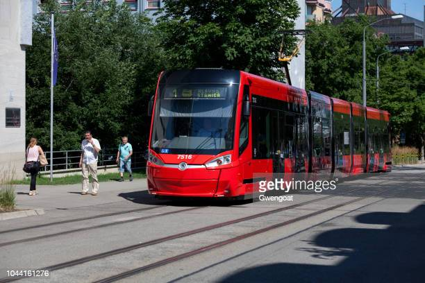 red tramway in bratislava - gwengoat stock pictures, royalty-free photos & images