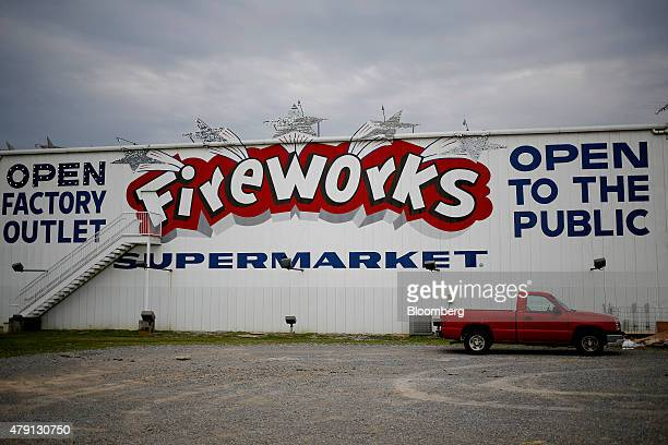 A red truck sits parked outside of the Fireworks Supermarket store in Jasper Tennessee US on Monday June 29 2015 As the 4th of July holiday...