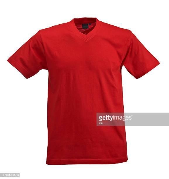 白色の背景に赤の t シャツ - vネック ストックフォトと画像