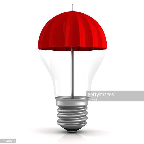 Roter Regenschirm Glühbirne