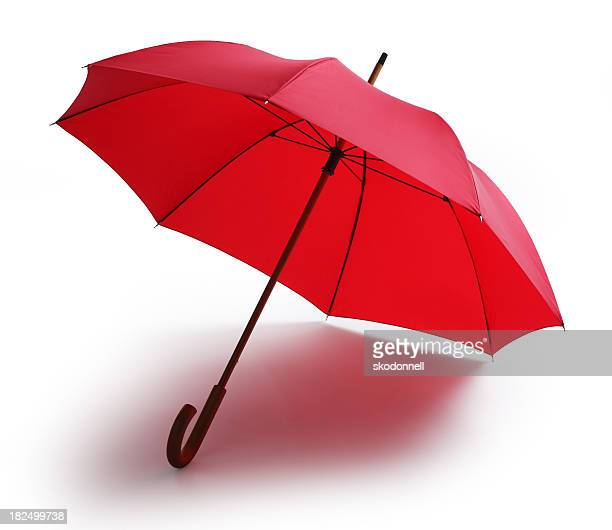 Red Umbrella Isolated on a White Background