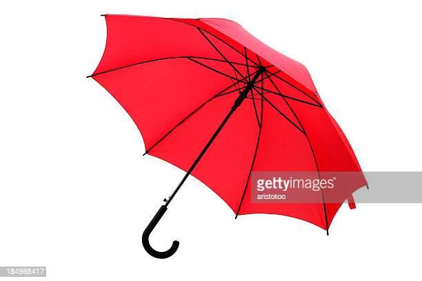 Roter Regenschirm, isoliert auf weiss