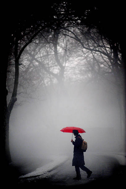 A red umbrella provides the only glimpse of color through a