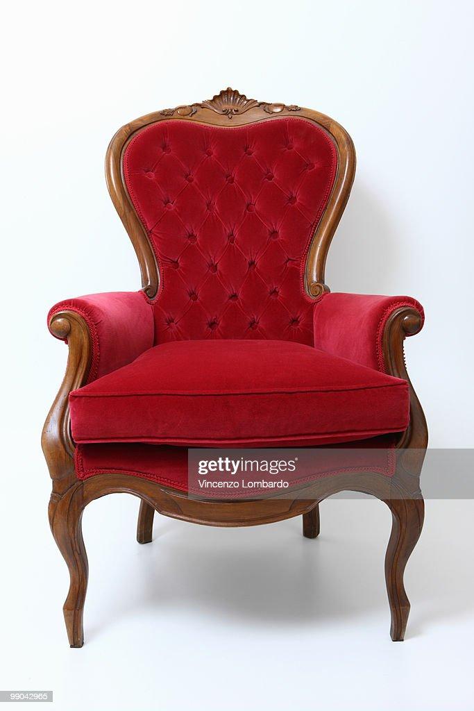 Red Velvet Armachair : Stock Photo
