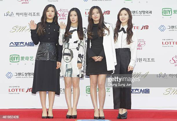 Red Velvet arrive for the 24th Seoul Music Awards at the Olympic Park on January 22 2015 in Seoul South Korea