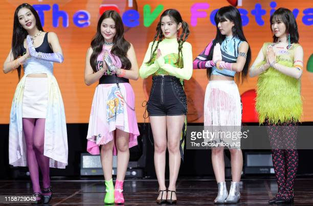 Red Velvet attends the showcase for the new album 'The ReVe Festival Day 1' at Blue Square iMarket Hall in Hannamdong on June 19 2019 in Seoul South...