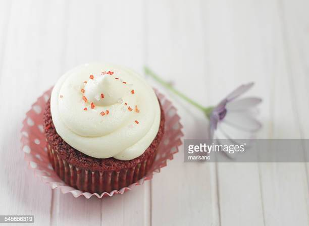 Red velvet cupcake with whipped cream and flower