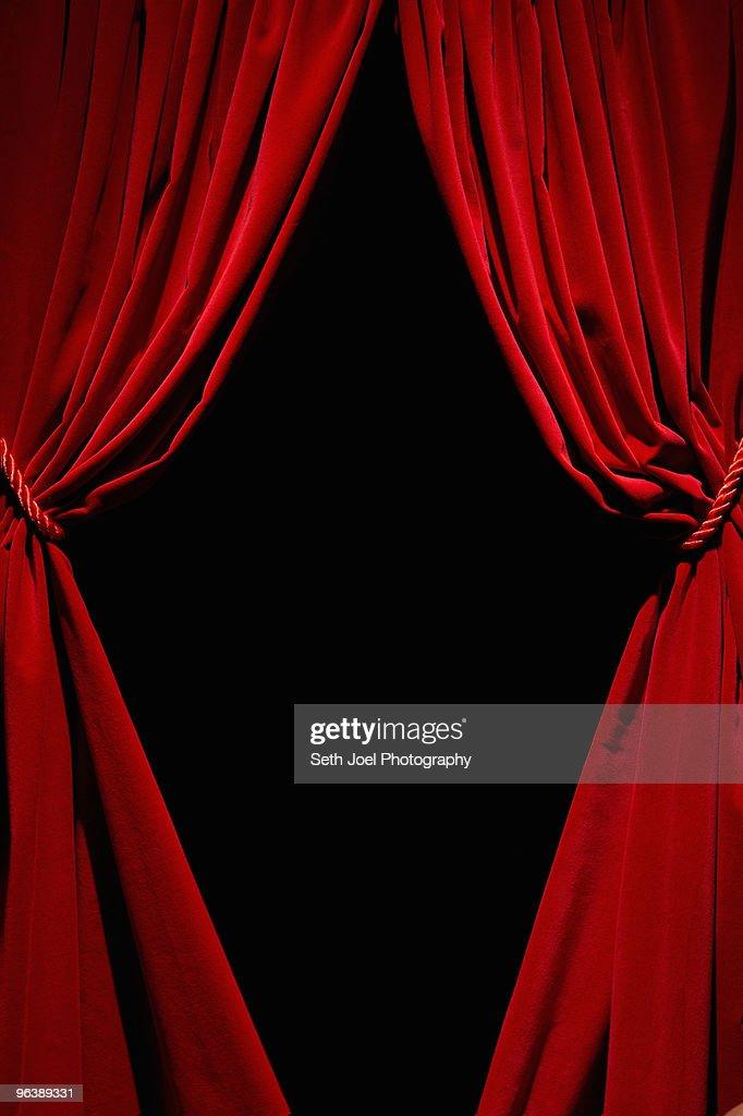 Red velvet curtains : Stock Photo