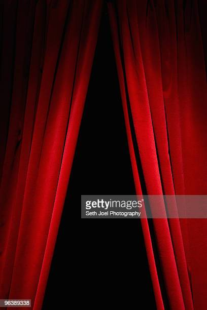 red velvet curtains - stage curtain stock pictures, royalty-free photos & images