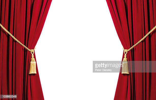 Red velvet curtains with white copy space