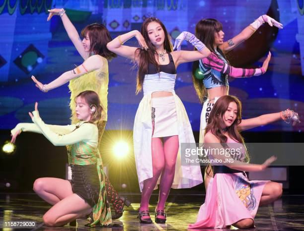Red Velvet performs on stage during the showcase for the new album 'The ReVe Festival Day 1' at Blue Square iMarket Hall in Hannamdong on June 19...