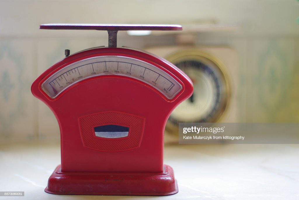 Red Vintage Kitchen Scales : Stock Photo