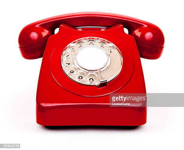A red vintage old school telephone