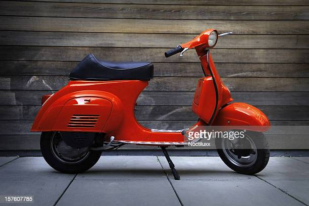 red vintage oldtimer scooter - moped stock photos and pictures
