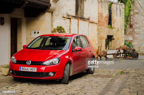 red vw golf - volkswagen golf gti stock photos and pictures