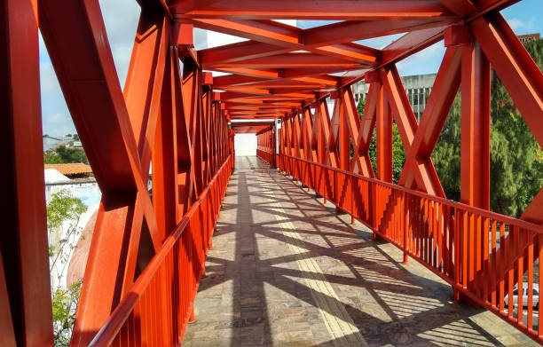 Red walkway in Centro Cultural Dragao do Mar (Cultural Center) in Fortaleza, Ceará state, Brazil