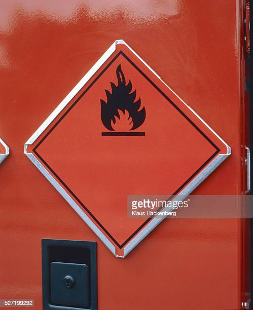 Red warning sign for inflammable material