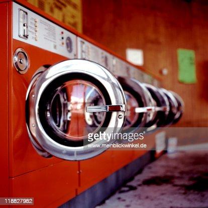 Red washing machine and dryer