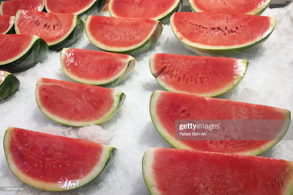 Red Watermelons on Ice : Stock Photo