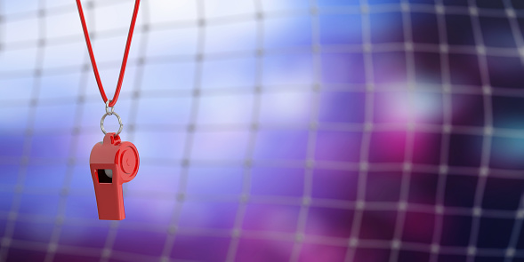 Red whistle on blur soccer goal net background, copy space. 3d illustration 1053136690